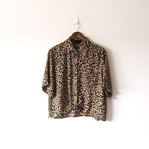 NWT Sanctuary Leopard DROP Shoulder Top